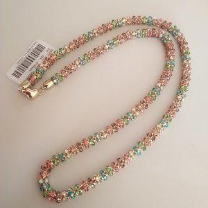 Betsey Johnson New Pink Swirly Rhinestone Necklace